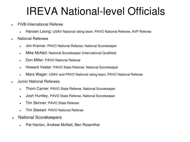 IREVA National-level Officials