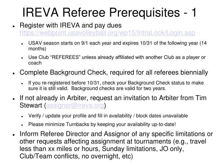 Ireva referee prerequisites 1