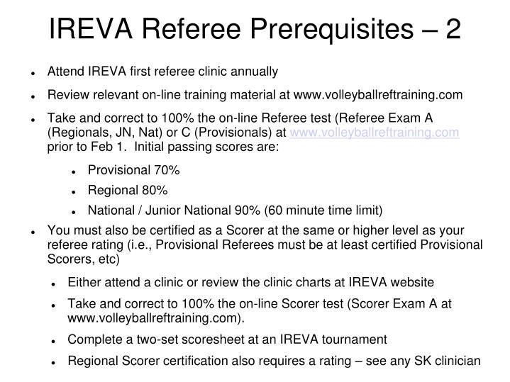 Ireva referee prerequisites 2