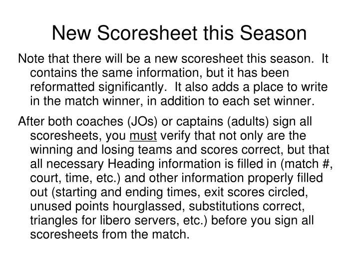 New Scoresheet this Season