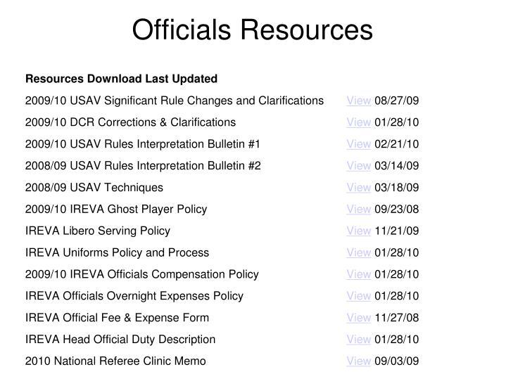 Officials Resources