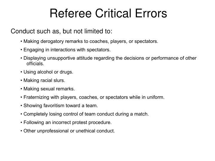Referee Critical Errors