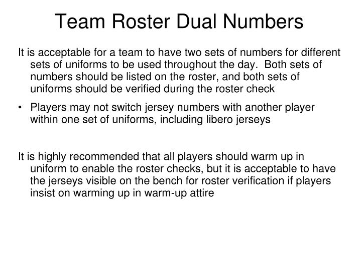 Team Roster Dual Numbers