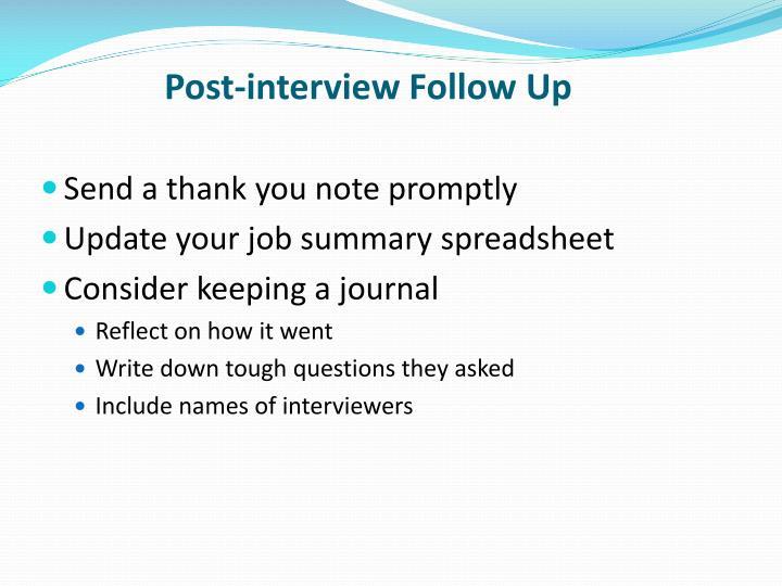 Post-interview Follow Up