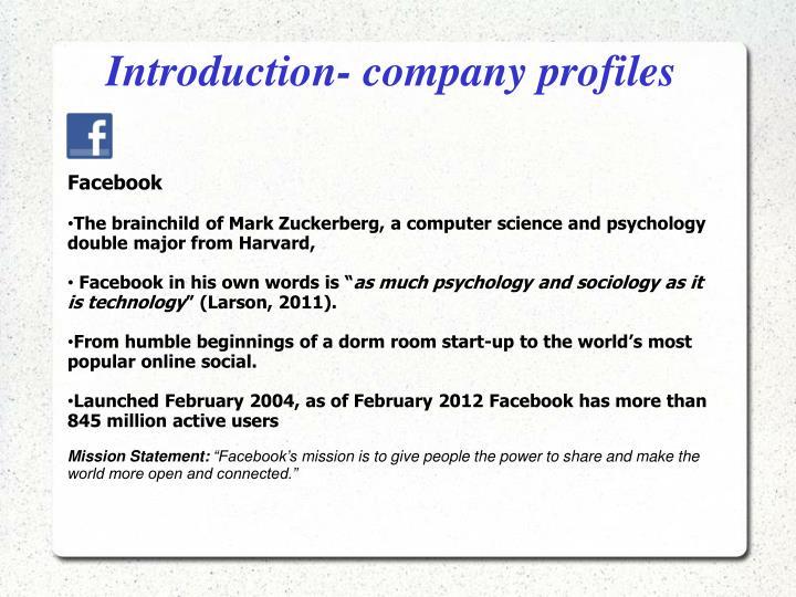 Introduction- company profiles