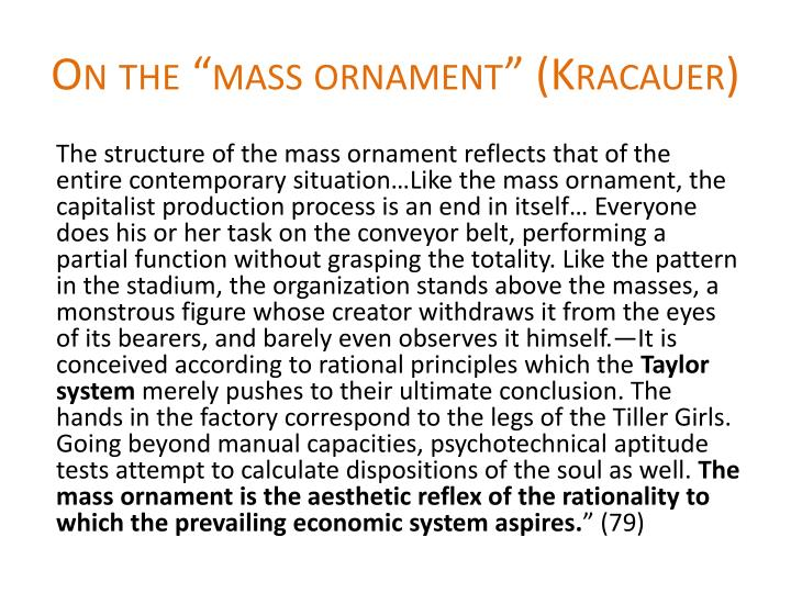 """On the """"mass ornament"""" ("""