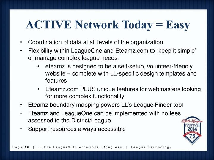ACTIVE Network Today = Easy