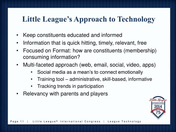 Little League's Approach to Technology
