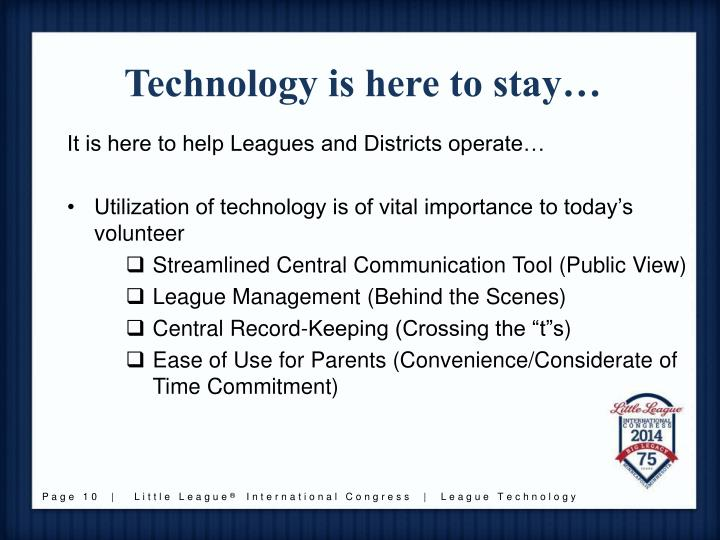 Technology is here to stay…