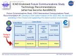 icao endorsed future communications study technology recommendations what has become aeromacs