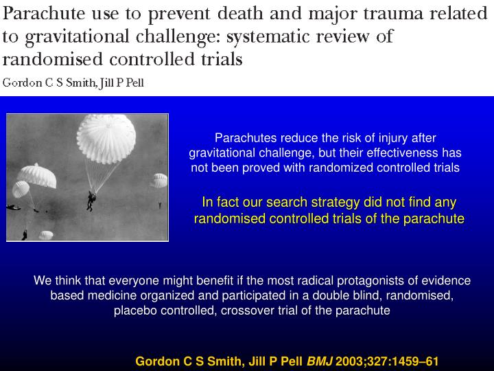 Parachutes reduce the risk of injury after gravitational challenge, but their effectiveness