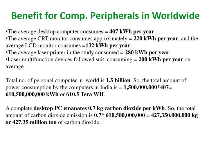 Benefit for Comp. Peripherals in Worldwide
