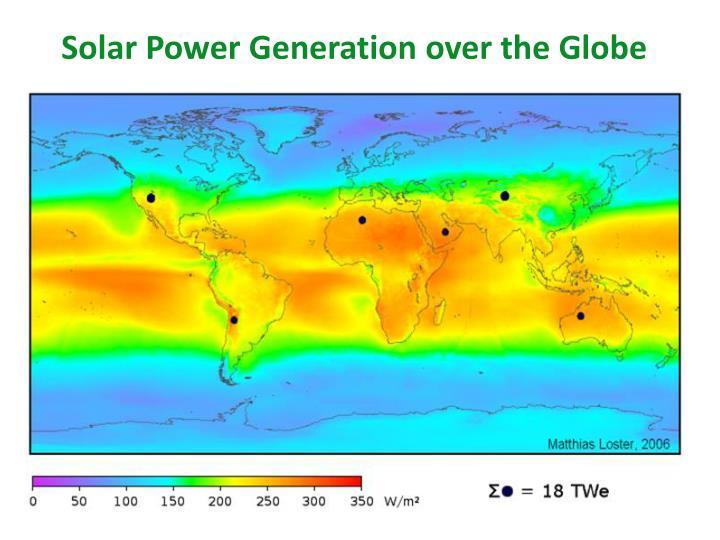Solar Power Generation over the Globe