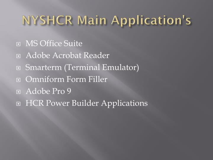 NYSHCR Main Application's