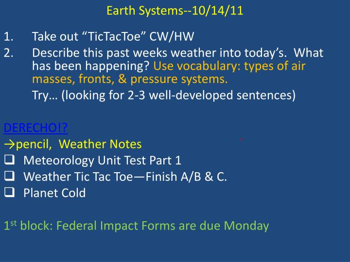 Earth Systems--10/14/11