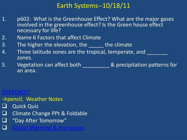 Earth Systems--10/18/11