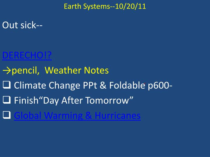 Earth Systems--10/20/11