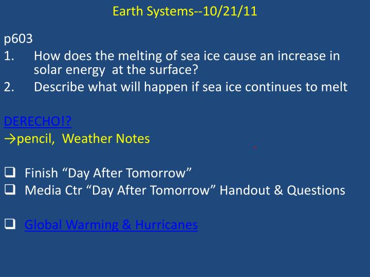 Earth Systems--10/21/11