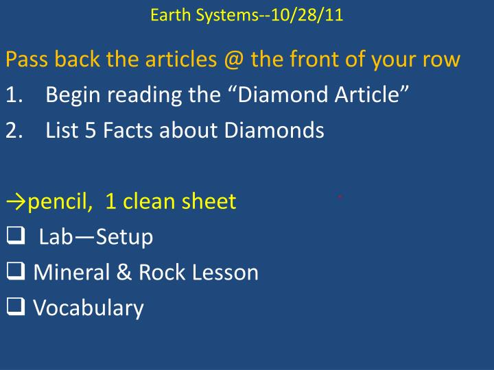 Earth Systems--10/28/11
