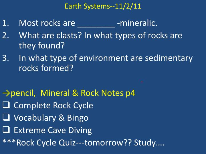 Earth Systems--11/2/11