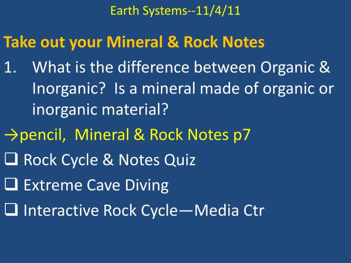 Earth Systems--11/4/11