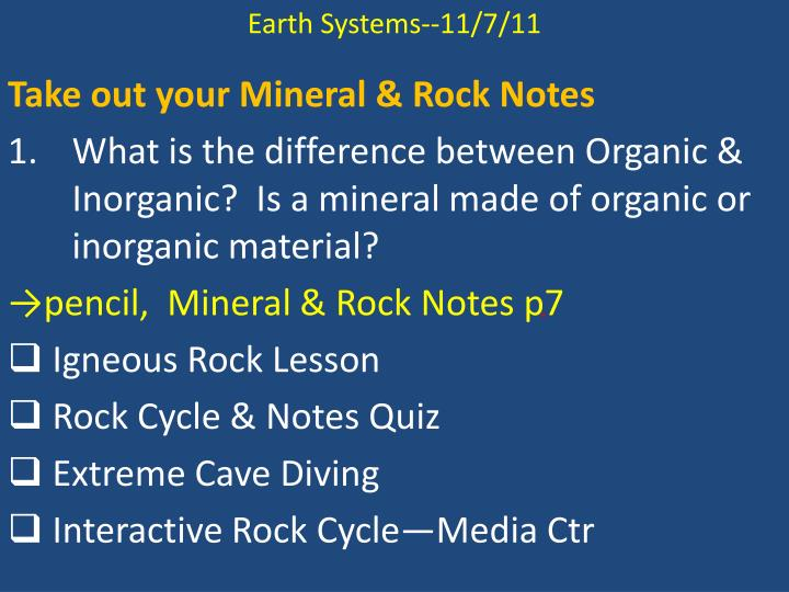 Earth Systems--11/7/11