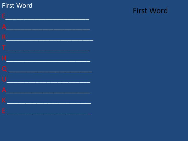 First Word