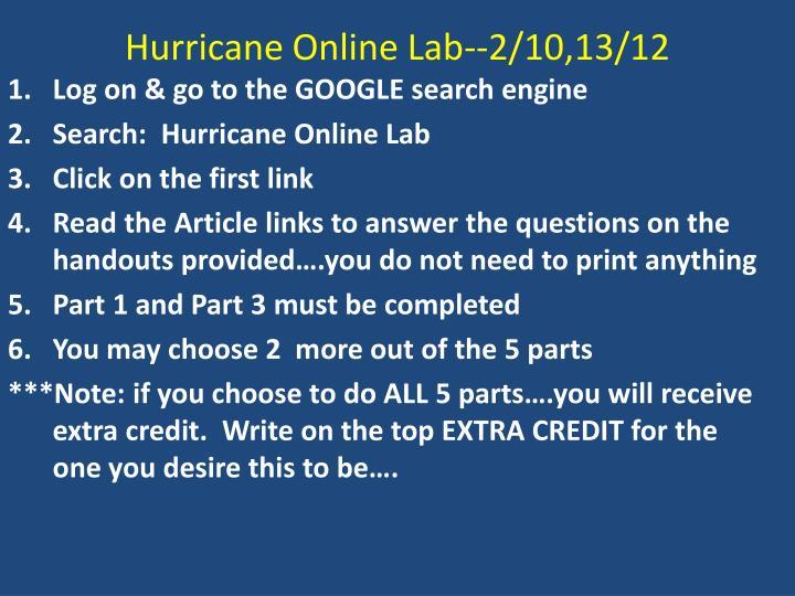 Hurricane Online Lab--2/10,13/12
