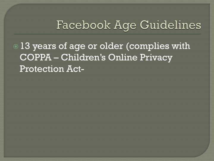 Facebook Age Guidelines
