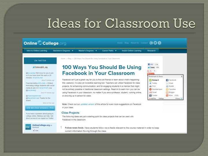 Ideas for Classroom Use