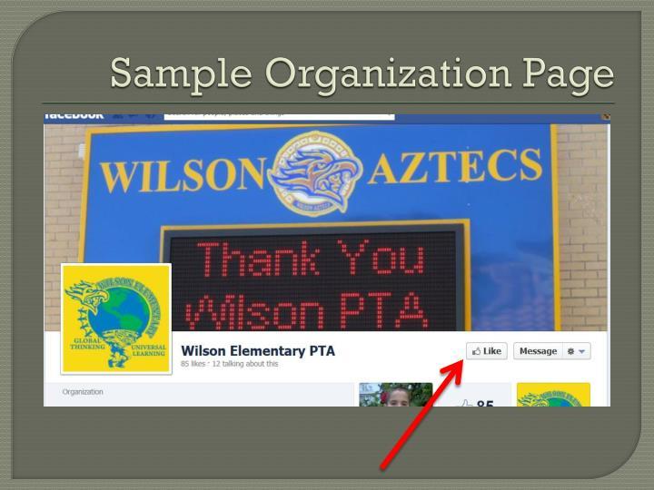 Sample Organization Page