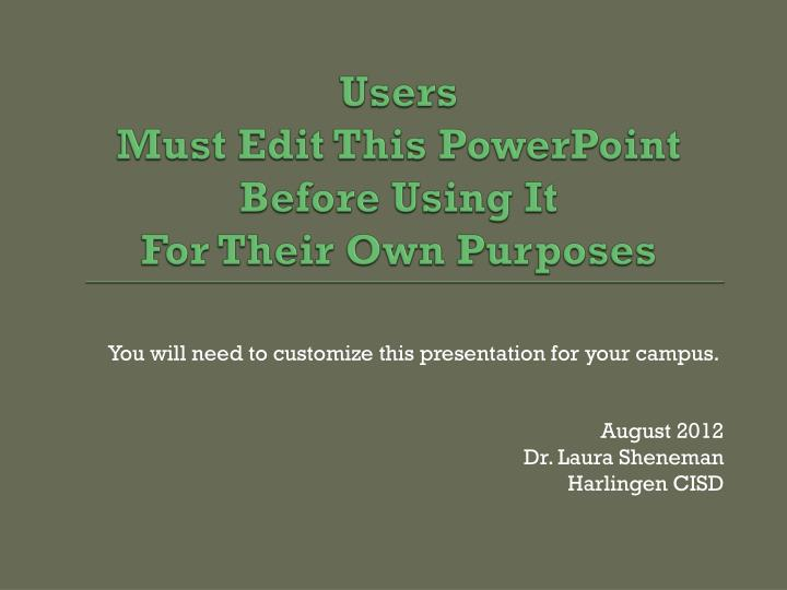 Users must edit this powerpoint before using it for their own purposes