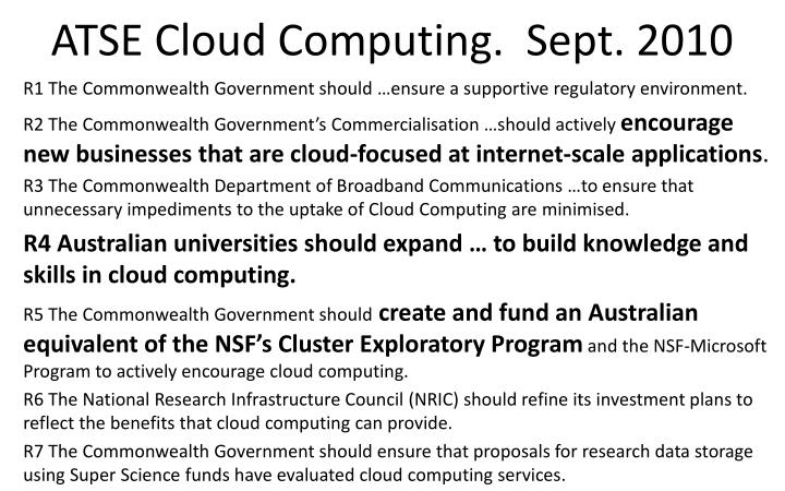 ATSE Cloud Computing.  Sept. 2010