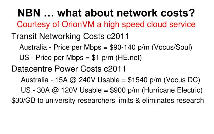 NBN … what about network costs?