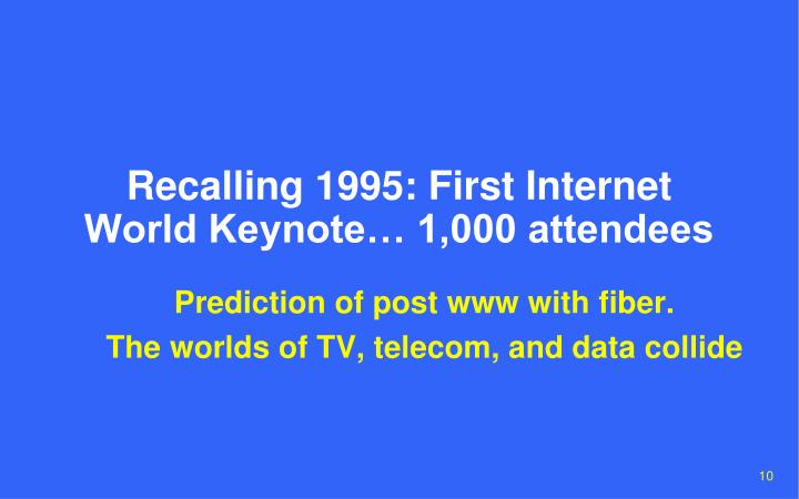 Recalling 1995: First Internet World Keynote… 1,000 attendees
