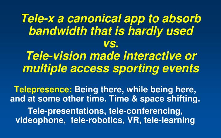 Tele-x a canonical app to absorb bandwidth that is hardly used