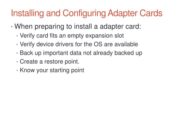 Installing and Configuring Adapter Cards