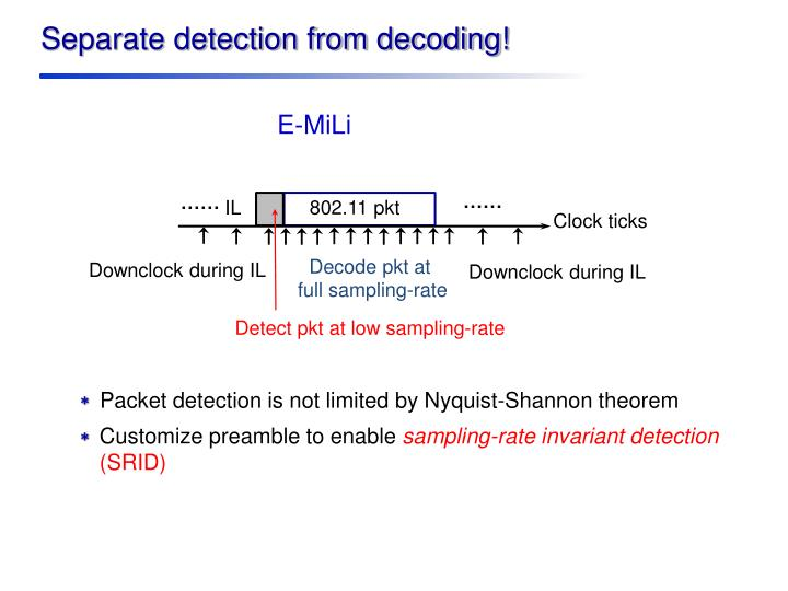 Separate detection from decoding!