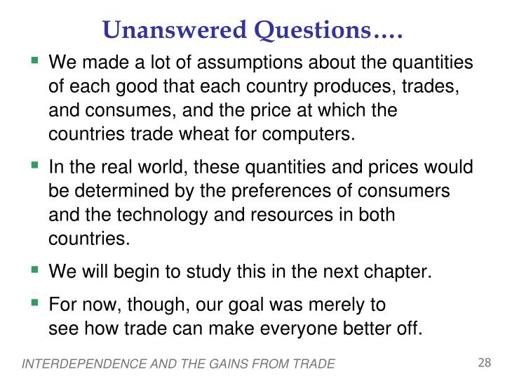 Unanswered Questions….