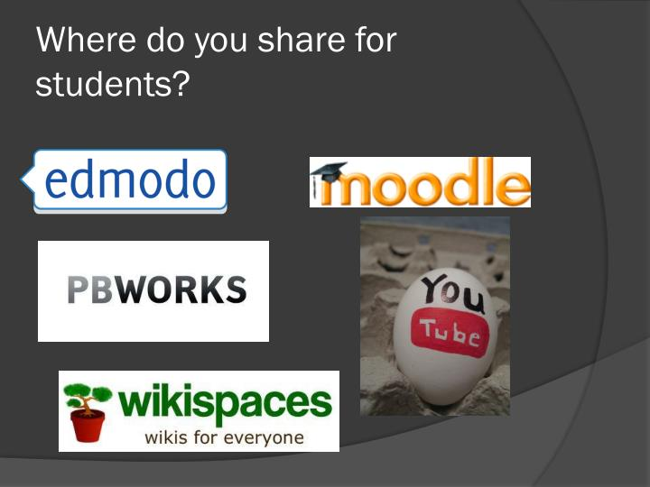 Where do you share for students?
