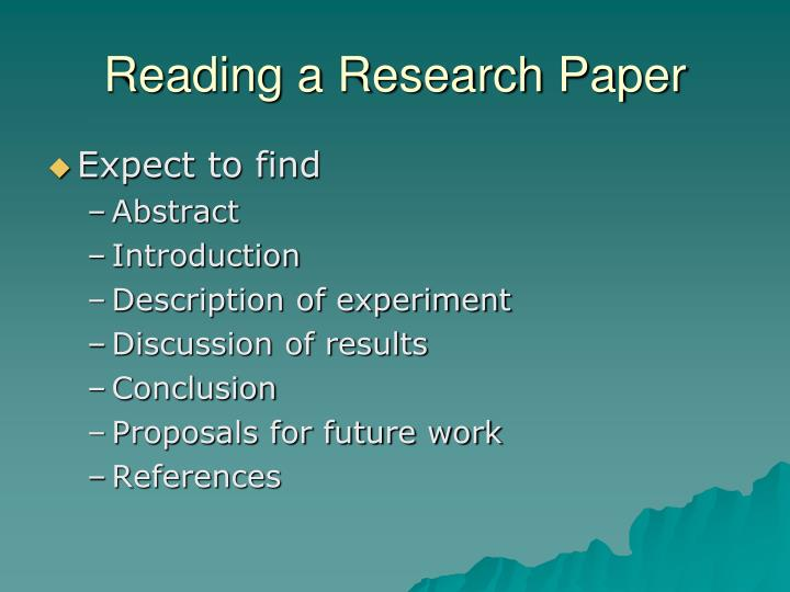 Reading a Research Paper
