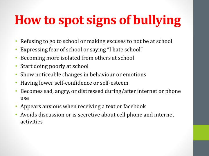 How to spot signs of bullying