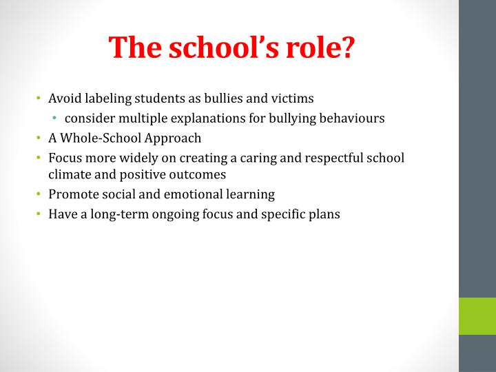 The school's role?