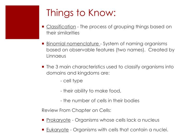 Things to Know: