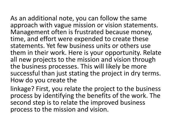 As an additional note, you can follow the same approach with vague mission