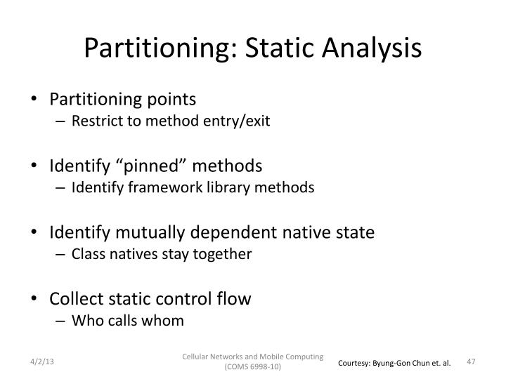 Partitioning: Static Analysis