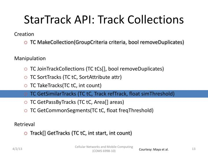 StarTrack API: Track Collections