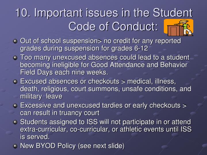 10. Important issues in the Student Code of Conduct: