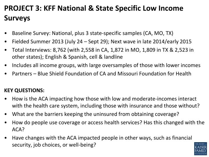 PROJECT 3: KFF National & State Specific Low Income Surveys