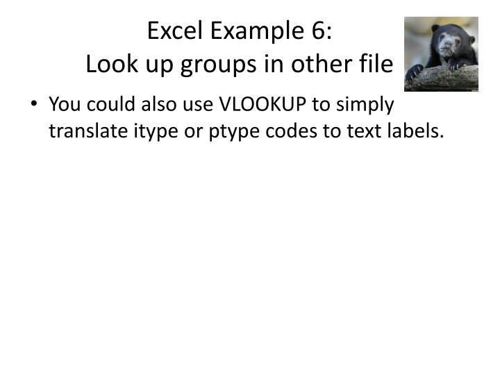 Excel Example 6:
